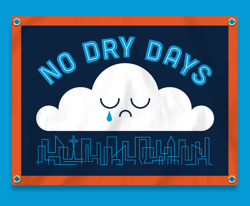 No Dry Days Camp Flag • Invisible Creature x Oxford Pennant x Freeman