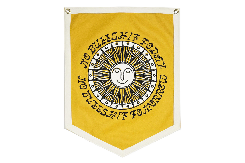 Real Fun, Wow! x Oxford Pennant • Camp Flag - No Bullshit