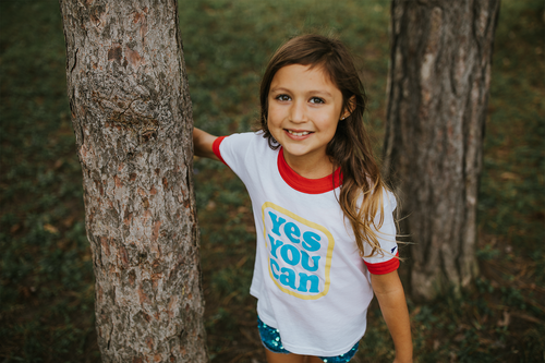 Kelle Hampton x Oxford Pennant - Yes You Can Kid's Ringer Tee