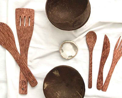 coconut bowl and coconut wood utensils