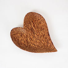 Load image into Gallery viewer, Natural coconut wood heart shaped plate