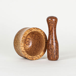 Natural coconut wood mortar and pestle