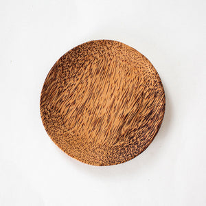 Natural coconut wood round plate