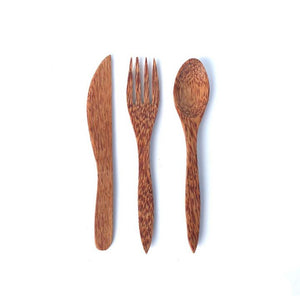 Coconut wood cutlery - set of 3