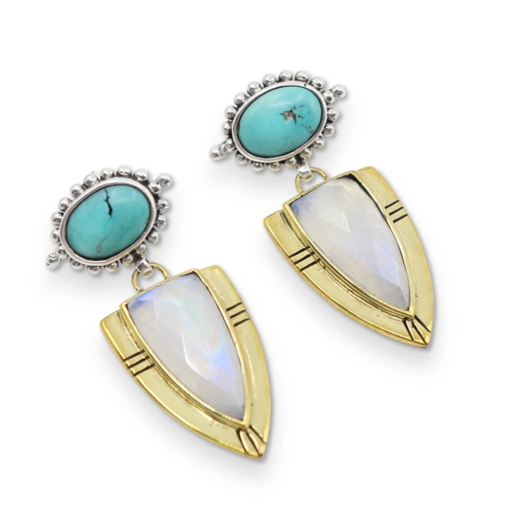 Cassius Moonstone + Turquoise Earrings