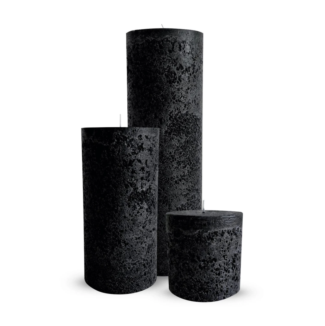 Textured Candle Trio Black