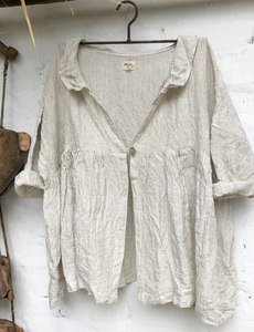 Abella Linen Jacket - Natural and White Stipe
