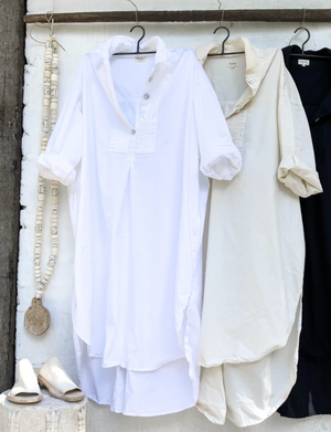 Tuxedo Shirt Dress - Cream
