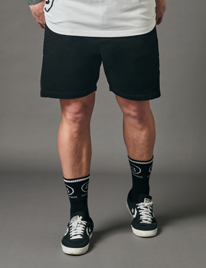 Relaxed Panel Shorts - Black