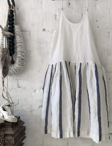 High Tea Slip Dress - Blue and White Stripe