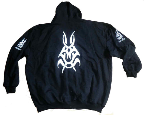 Full zip hoodie black with tribal on back and sleeves
