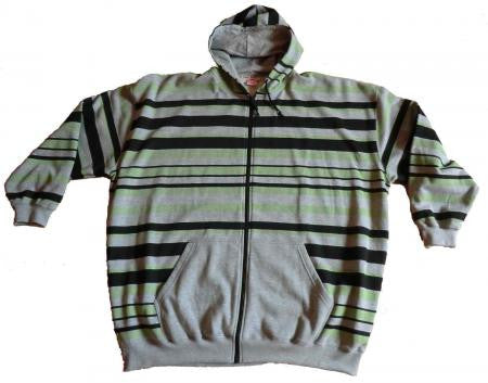 Hooded sweat jacket with stripes
