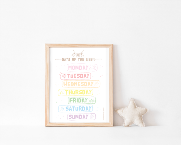 Rainbow Collection Art Print - Days of The Week - Bunny Roo