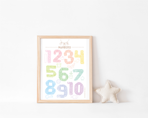 Rainbow Collection Art Print - Numbers - Bunny Roo