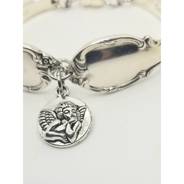 Angel bracelet, cherub, spoon bracelet, angel jewelry, angel charm, charm bracelet, bangle, upcycled,silverware jewelry