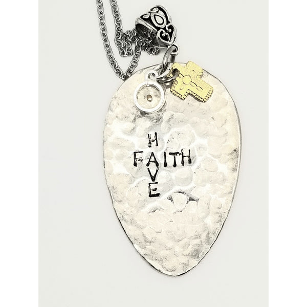 Have Faith, stamped necklace, mustard seed and cross, faith of mustard seed,
