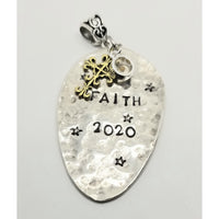 Faith necklace,  mustard seed, Matthews 17:20, faith of small mustard seed, move mountains,  handstamped, spoon, hammered