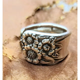Ring, April, sunflower, spoon ring, spoon ring, thumb ring, fashion ring, retro style, flower jewelry,silver ring
