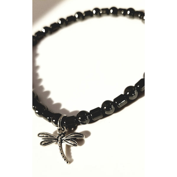 Hematite bracelet, dragonfly, natural hematite, black bracelet, therapeutic