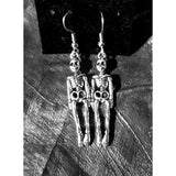 Halloween earrings, skeleton,  Halloween jewelry, silver, trick or treat, Halloween costume, pierced earrings