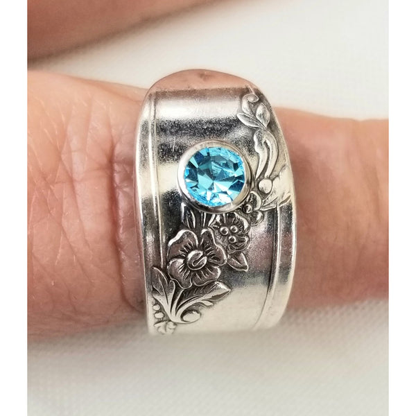 Ring, floral, spoon, crystal, blue, sapphire,  spoon ring, Queen Bess