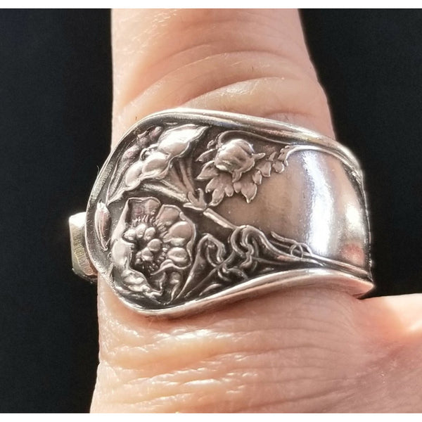 Lilly flower silver ring