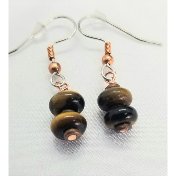 Earrings, tiger eye, stacked stones, tiger eye beads, copper earrings, earrings dangling, pierced