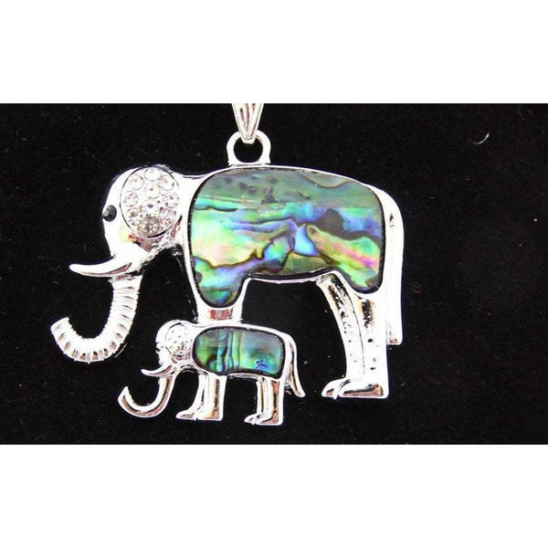 Elephant pendant, Mother and baby in abalone and silver, silver omega chain, choice of length,