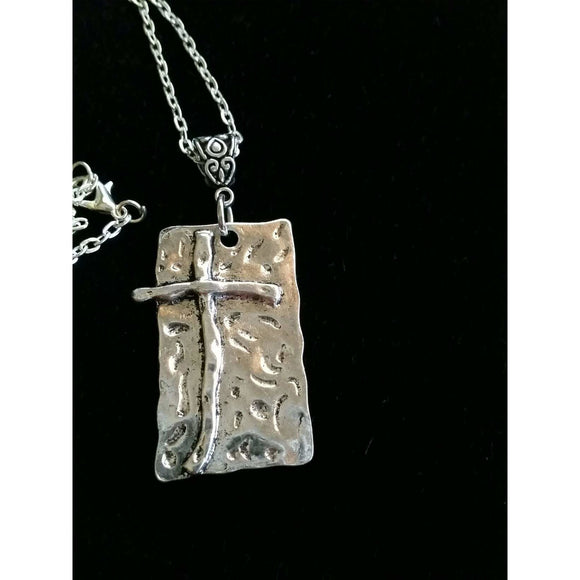 Cross necklace, hammered silver plate, religious pendant, spiritual jewelry,free shipping eligible and gift box
