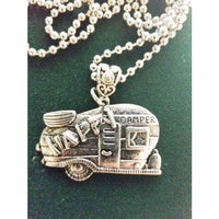 Camper necklace, Camping jewelry, glamper necklace, glamping, bling, glamper, vacation jewelry, travel trailer necklace, rv jewelry