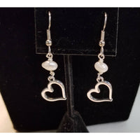 Silver heart pearl earrings
