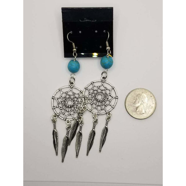 Earrings, southwestern, silver turquoise, dream catchers, blue, feathers, dangle pierced, stainless steel wires, gift box, mothers day gift