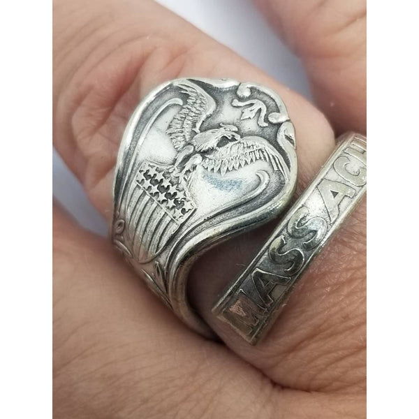 Spoon ring, eagle, handmade wrap, Massachusetts souvenir spoon, sizes from 8-10 available, upcycled, vintage silverware