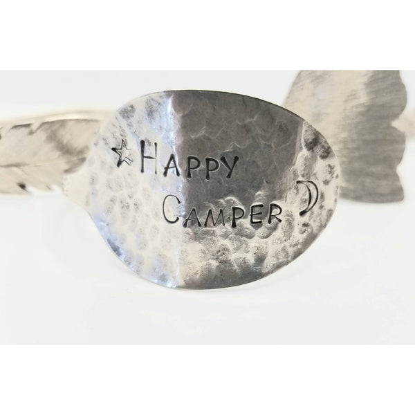 Happy Camper cuff, hammered spoon, stamped spoon, Glamper, spoon cuff bracelet, Mothers day gift, gift for her, camping jewelry,
