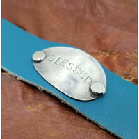 Leather bracelet,  stamped spoon, Blessed, teal blue, 7 - 8 adjustable snap closure, handmade, graduation gift, upcycled silverware