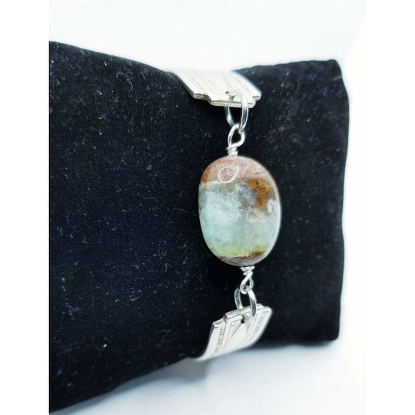 Jasper stone connector spoon bracelet, bangle, spoons jewelry, upcycled silverware, Mother's day gift, gifts for her, greens brown stone