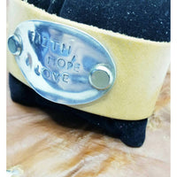 Stamped leather bracelet, faith, hope, love
