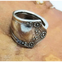 Spoon ring, handmade, vintage floral spoon, custom size 10-12,  rings, upcycled spoons, vintage silverware, thumb rings, spoons, thumb