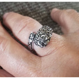 Spoon ring, 925 wrap ring. Spoon rings, silverware ring, floral pattern, size 7