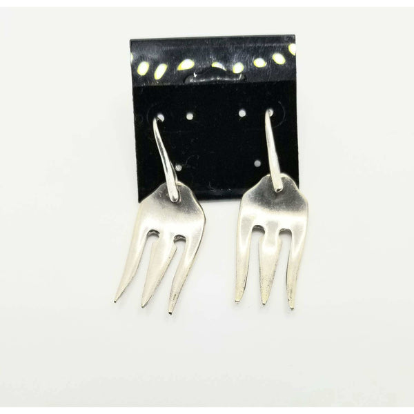 Fork jewelry, fork earrings, pierced earrings, cocktail fork earrings, pierced, vintage silverware, pickle forks, oyster forks