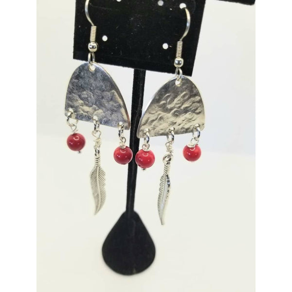 Hammered half spoon earrings