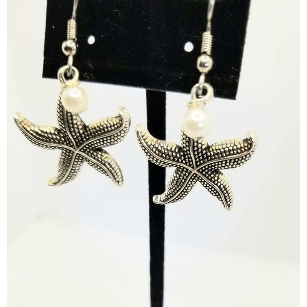 Starfish, starfish earrings, pearls, handmade, silver, hypoallergenic, beach jewelry, love sea, pierced earrings