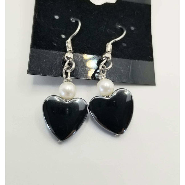 Hematite heart earrings, silver, hematite with Swarovski pearls, love jewelry, gifts for her, mothers day, gift wrapping available, Mom gift