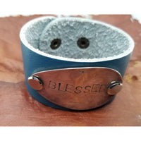 Leather bracelet, stamped Blessed