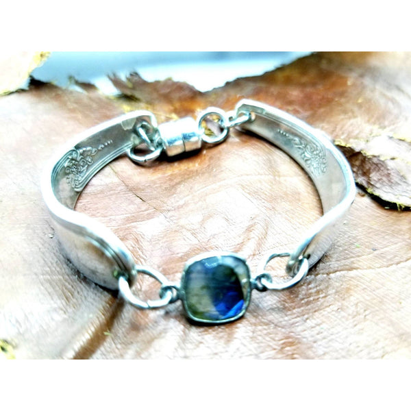 Spoon bracelet labradorite, bangle, spoons jewelry, upcycled silverware,  Mother's day gift, gifts for her, blue green brown connector
