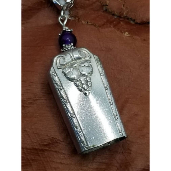 Bell necklace, silverware bell, angel calling, upcycled, charm pendant, angel bells, vintage silverware, silver bell, purple crystal