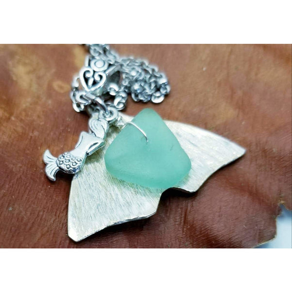 Whale tail necklace,  mermaid pendant, dolphin tail, sea pendant, sea foam, handmade, upcycled silverware, beach jewelry, ocean necklace,