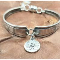 Tree of life, Spoon bracelet, charm bracelet, tree of life jewelry, vintage, upcycled silverware. Silver jewelry,
