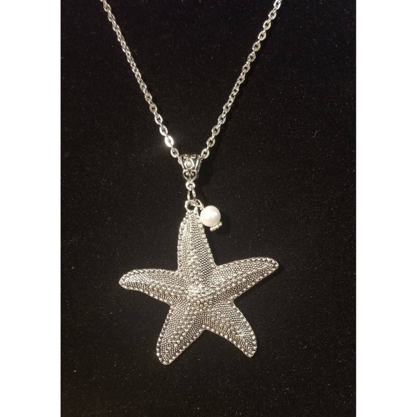 Starfish necklace,Swarovski pearl, Silver starfish pendant, silver necklace, Beach jewelry, ocean inspired, vacation jewelry, pearl jewelry