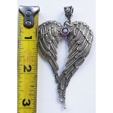 Angel wing necklace, in silver with birthstone